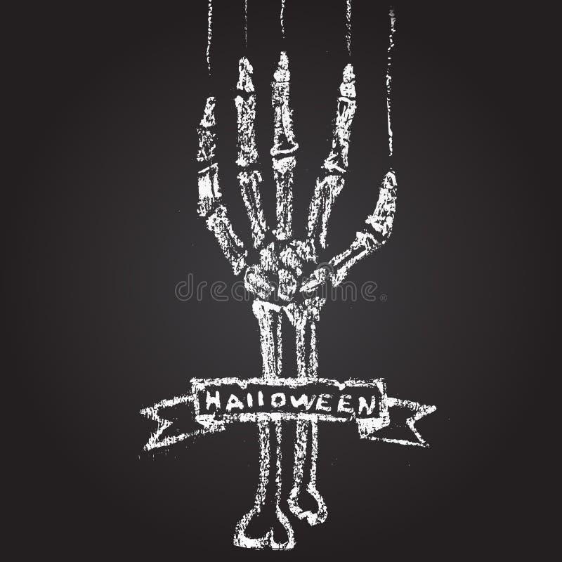 Main squelettique avec la craie sur un tableau noir, et a illustration de vecteur