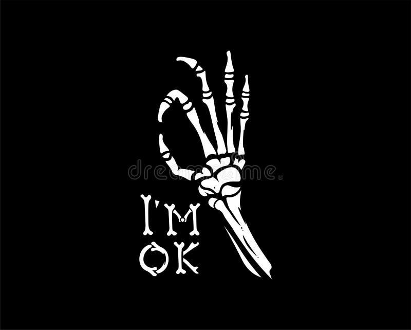 Main squelettique de vecteur montrant l'ok de geste Illustration d'isolement sur le fond noir illustration stock