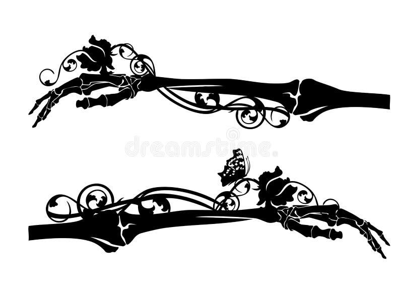 Main squelettique et silhouette rose de vecteur de fleur illustration libre de droits