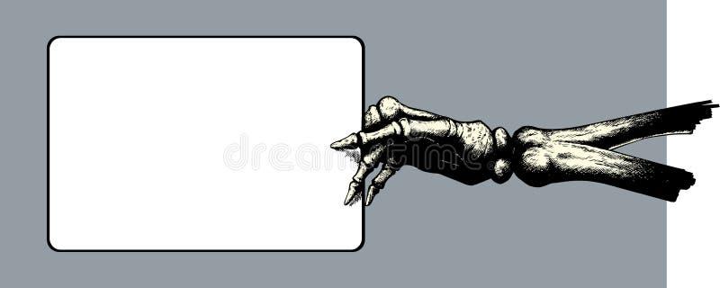 Main squelettique retenant un signe. illustration stock