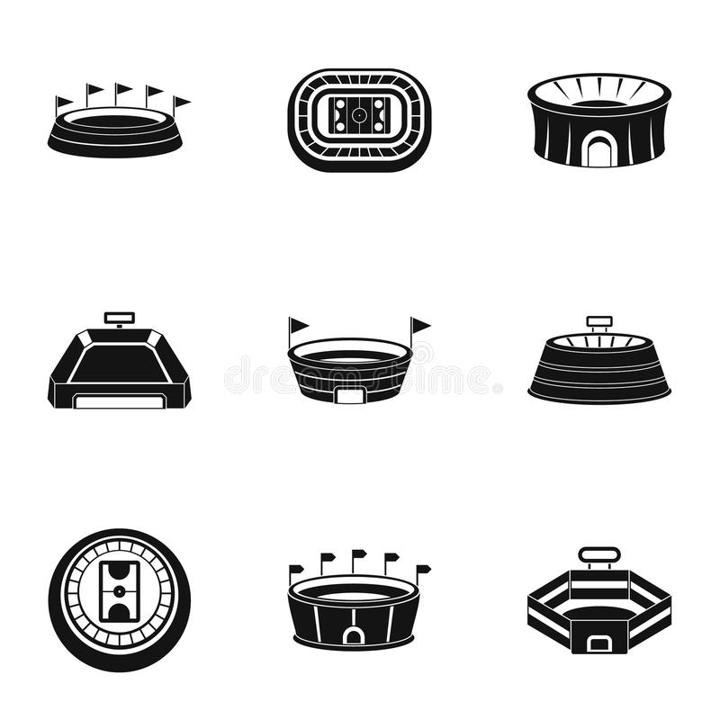 Main stadium icons set, simple style. Main stadium icons set. Simple set of 9 main stadium icons for web isolated on white background stock illustration