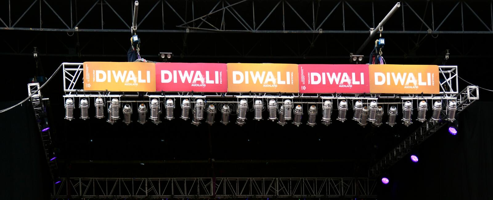 The main stage of Diwali festival in Auckland, New Zealand. AUCKLAND, NZL - OCT 18 2015:The main stage of Diwali festival in Auckland, New Zealand.It's the most royalty free stock photo