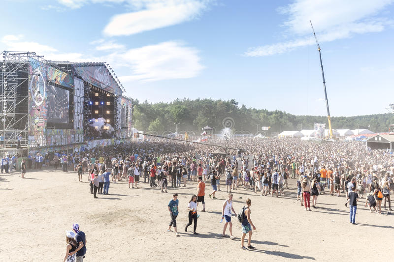 Main stage of the 21th Woodstock Festival Poland. Kostrzyn nad Odra, Poland - August 1, 2015: Main stage of the 21th Woodstock Festival Poland (Przystanek stock images