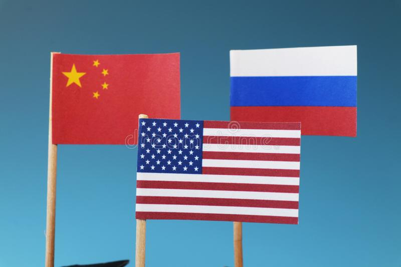 The main states on business war. The states who have main world in whole world. China, Russia, America stock image