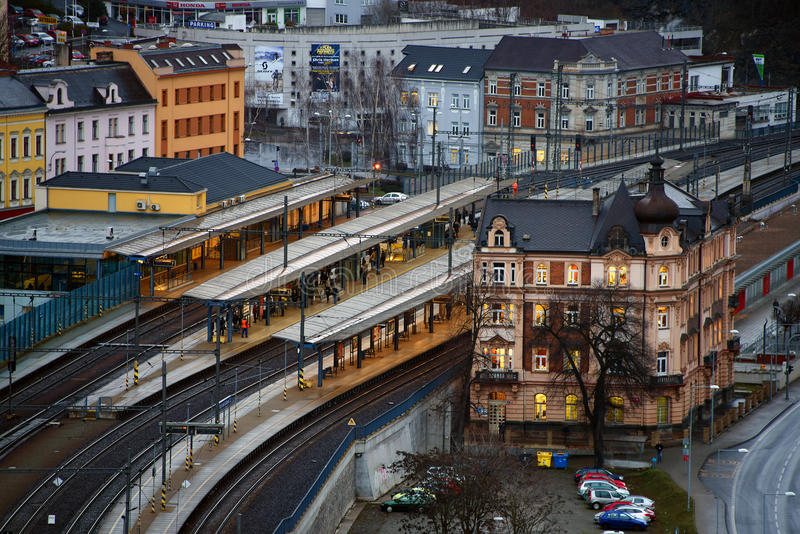 Main station. In town Usti nad Labem royalty free stock image