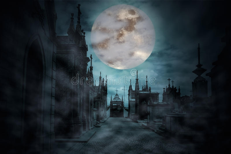 Main street. Of an old European cemetery in a cloudy and foggy full moon night stock illustration