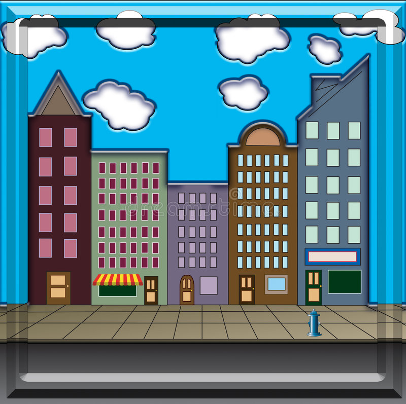 Download Main Street stock illustration. Image of commercial, real - 4189442