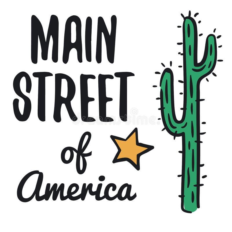 Main street of America illustration on white background. USA travel series royalty free illustration