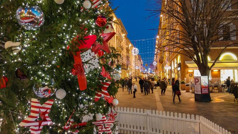 Main street of Ancona with big christmas tree and christkindlmarkt, Marche. Italy royalty free stock photos