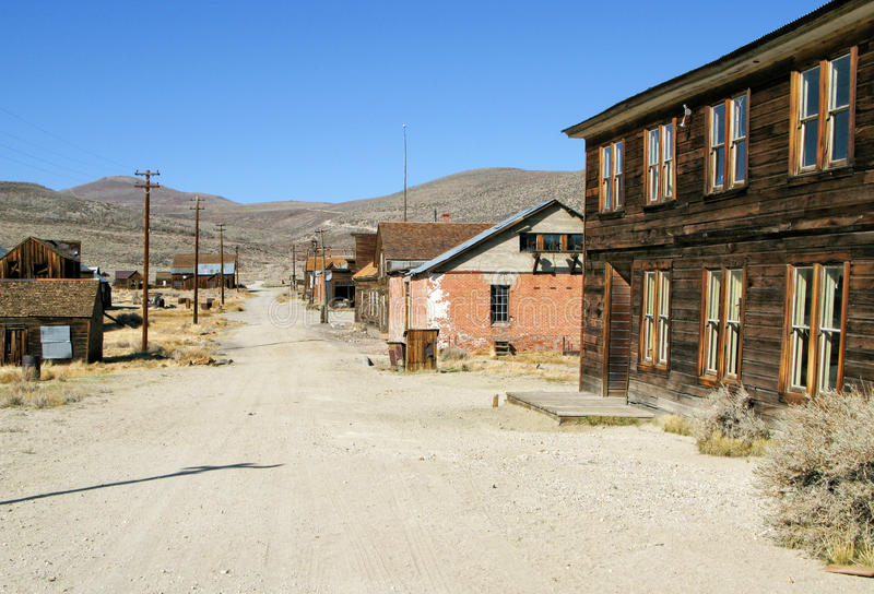 Main Street, Bodie California. Bodie California, preserved ghost town royalty free stock photo