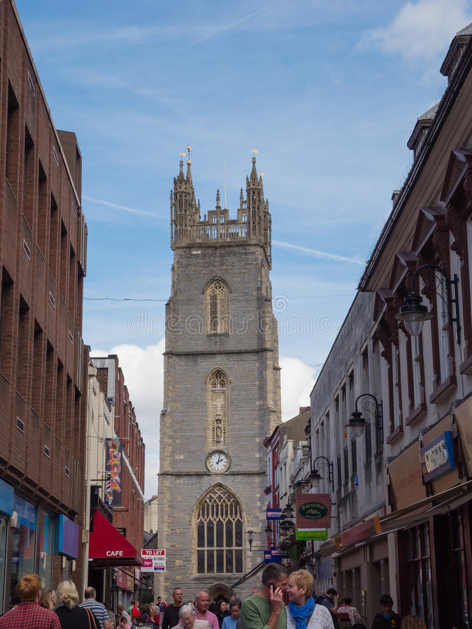 Main street in Cardiff, Wales stock photos