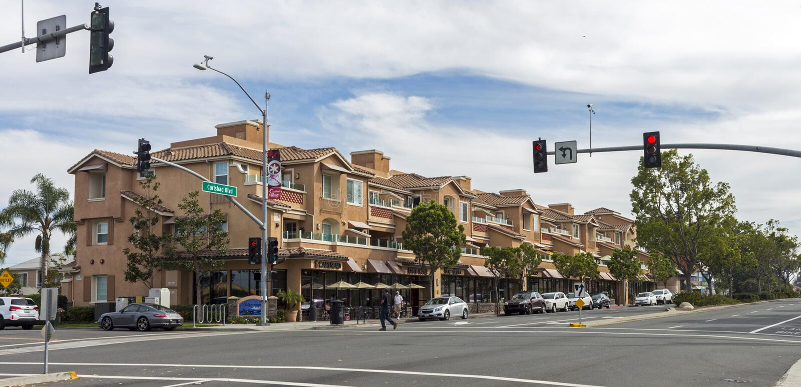 The main street in Carlsbad. CARLSBAD,UNITED STATES - NOVEMBER 15,2016:The main street in Carlsbad,California,United States royalty free stock images