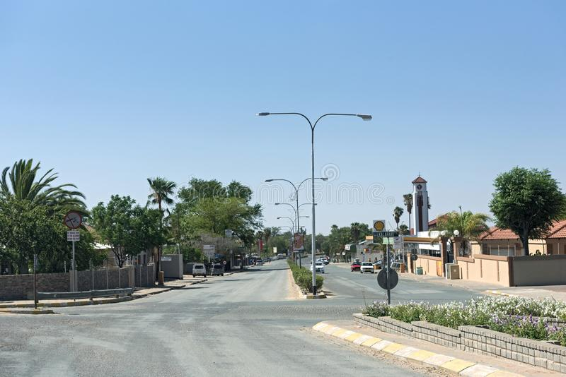 Main street in the city of gobabis in the east of namibia.  royalty free stock photos