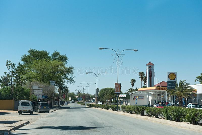 Main street in the city of gobabis in the east of namibia.  stock photography