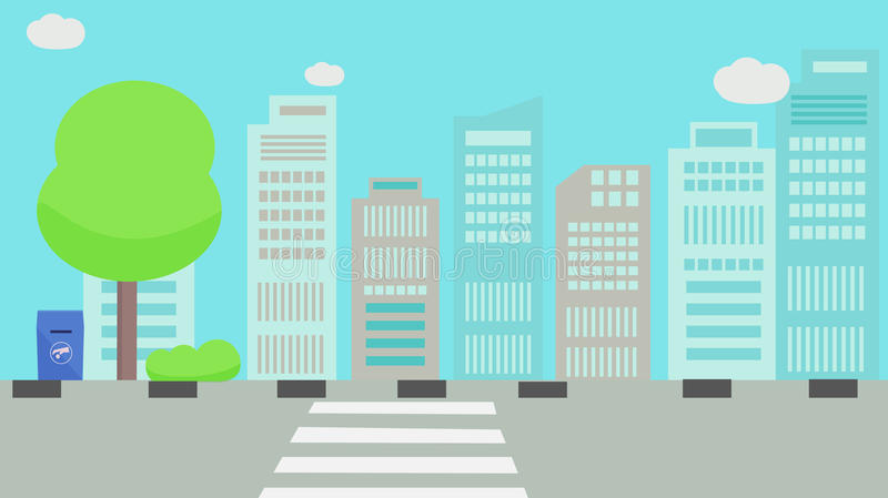 Main Street in city. With sky stock illustration