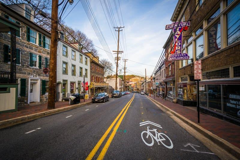 Main Street, dans la ville d'Ellicott, le Maryland photo stock