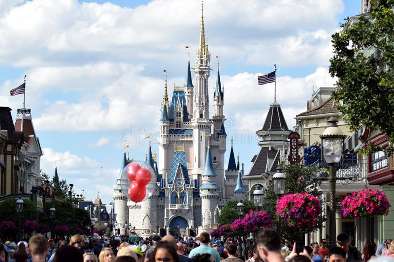 Main Street Disney värld, Florida arkivbilder