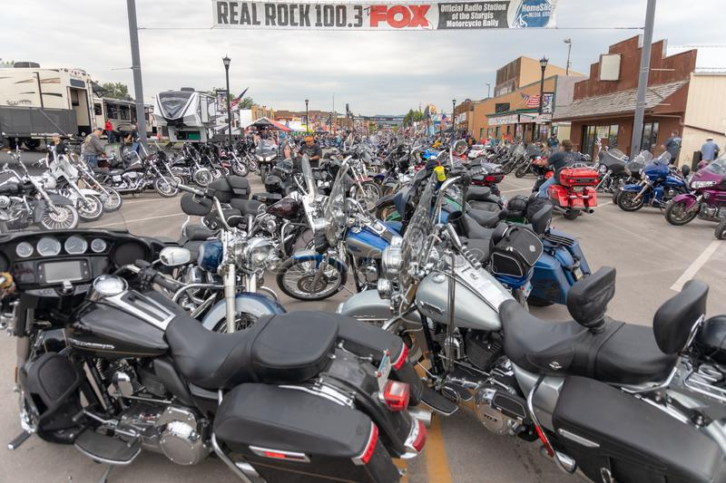 Main Street in downtown Sturgis, South Dakota, filled with motorcyles from all over the country. AUGUST 5, 2018, STURGIS, SD: 500,000 bikers bring their royalty free stock images