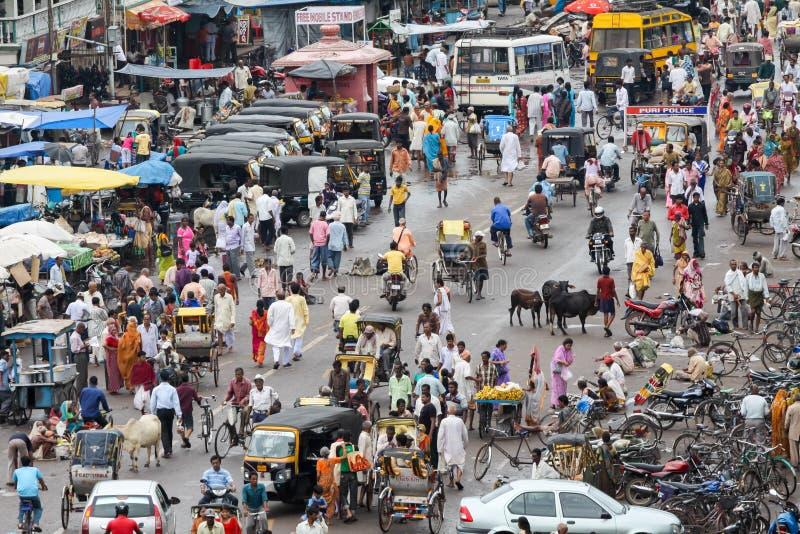 Main Street em Puri, Índia foto de stock royalty free