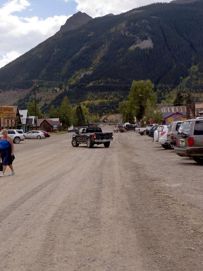 Main Street em Silverton uma cidade de prata velha da mineração no estado de Colorado EUA foto de stock royalty free