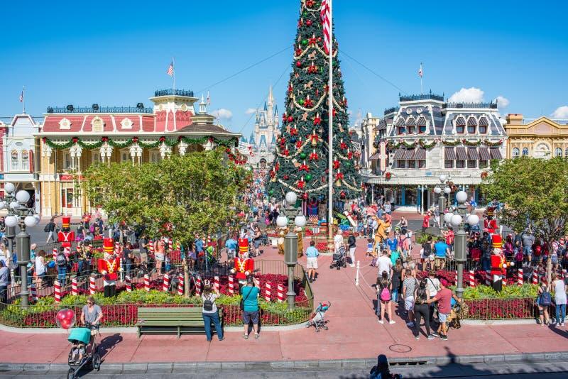 Main Street EUA no reino mágico, Walt Disney World imagem de stock