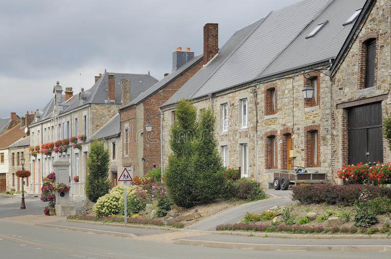 Main street, hargnies, ardennes royalty free stock photography