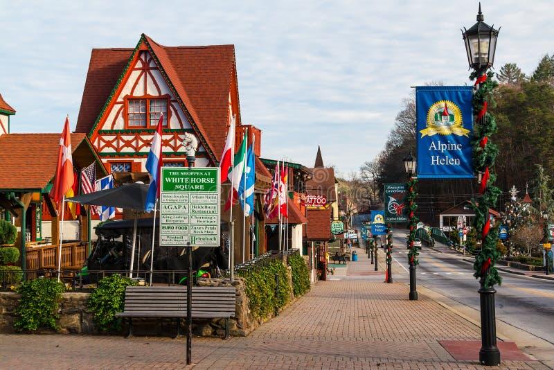 Main Street, Helen, USA stockbilder