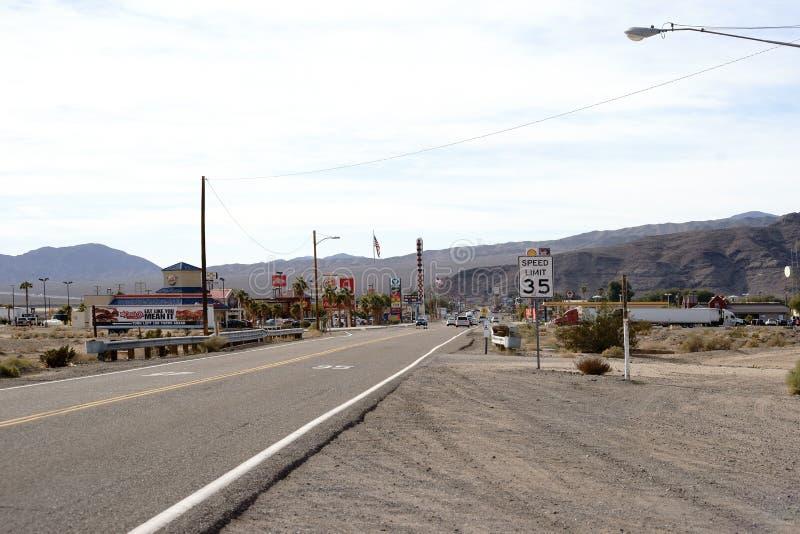 Main Street i Barstow arkivbild