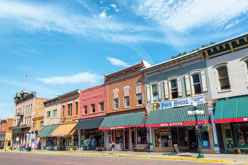 Main Street i Deadwood South Dakota royaltyfri bild