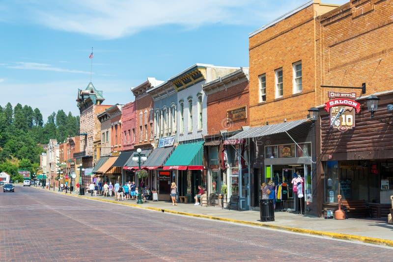 Main Street i Deadwood, South Dakota arkivbilder