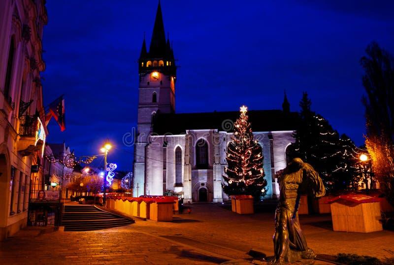 Main Street i Presov, Slovakien royaltyfri bild