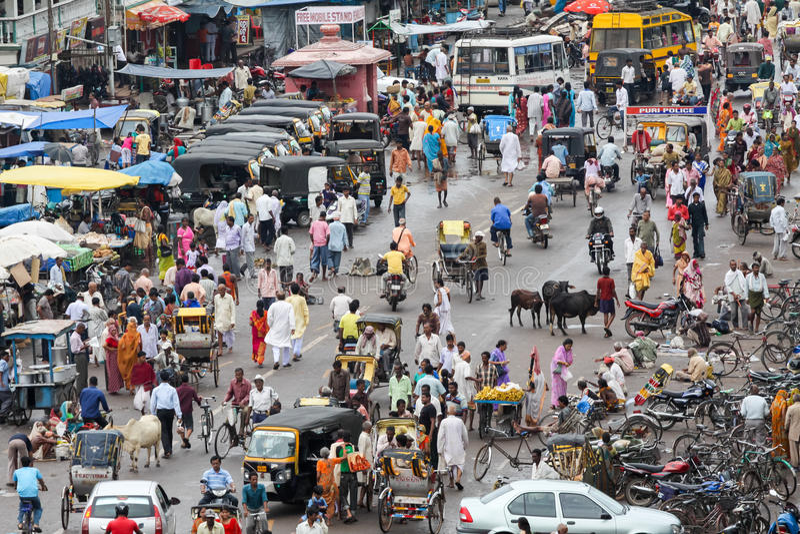 Main Street i Puri, Indien royaltyfri foto