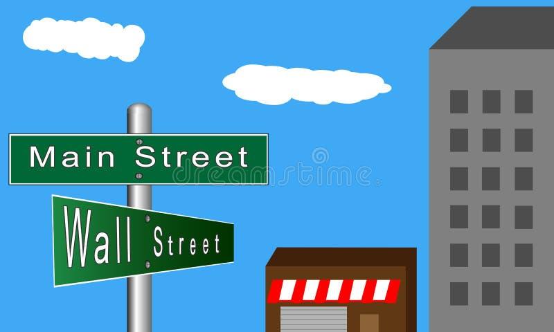 Main Street kontra Wall Street vektor illustrationer