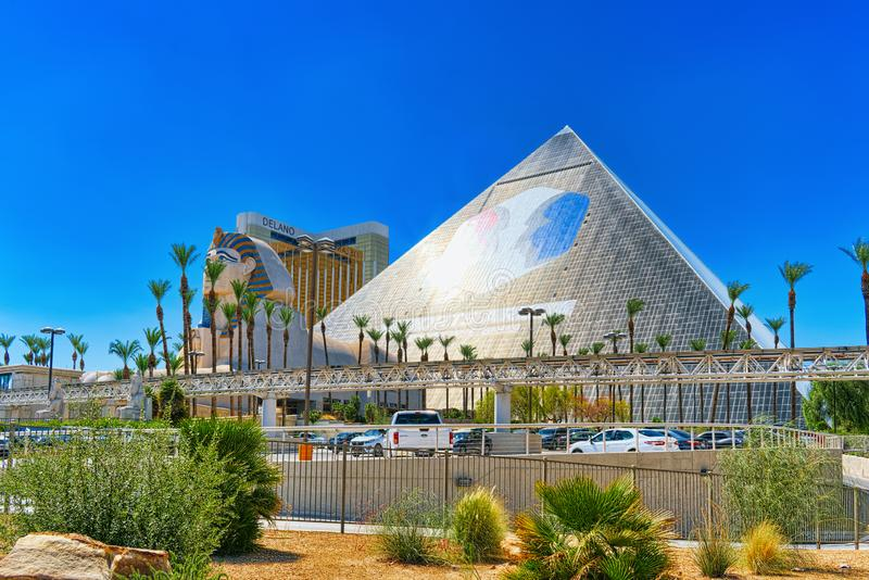Main street of Las Vegas is the Strip. Casino, hotel and resort Luxor stock photography