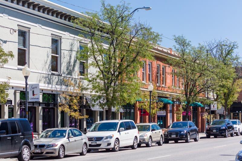 Main street. Littleton, Colorado, USA-September 3, 2014. Main street of historic downtown royalty free stock images