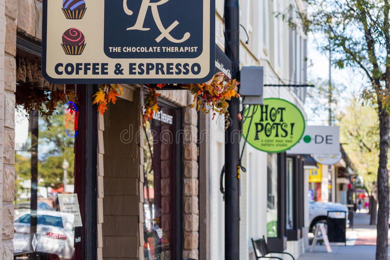 Main street. Littleton, Colorado, USA-September 3, 2014. Main street of historic downtown stock photo