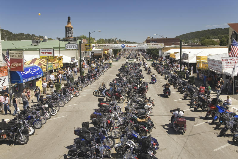 Download Main Street With Motorcycles Lining Road Editorial Photo - Image: 27067236