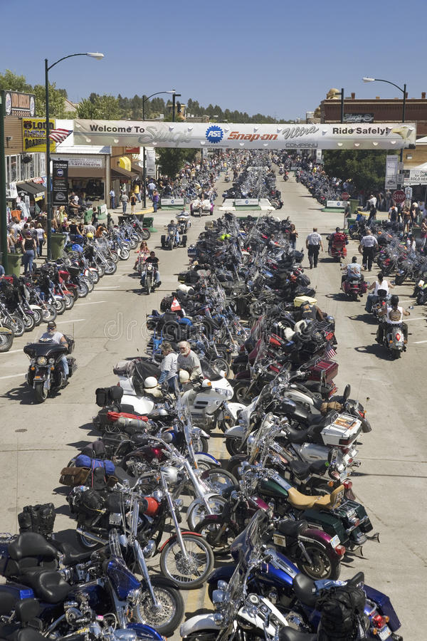Download Main Street With Motorcycles Lining Road Editorial Photo - Image: 27067246