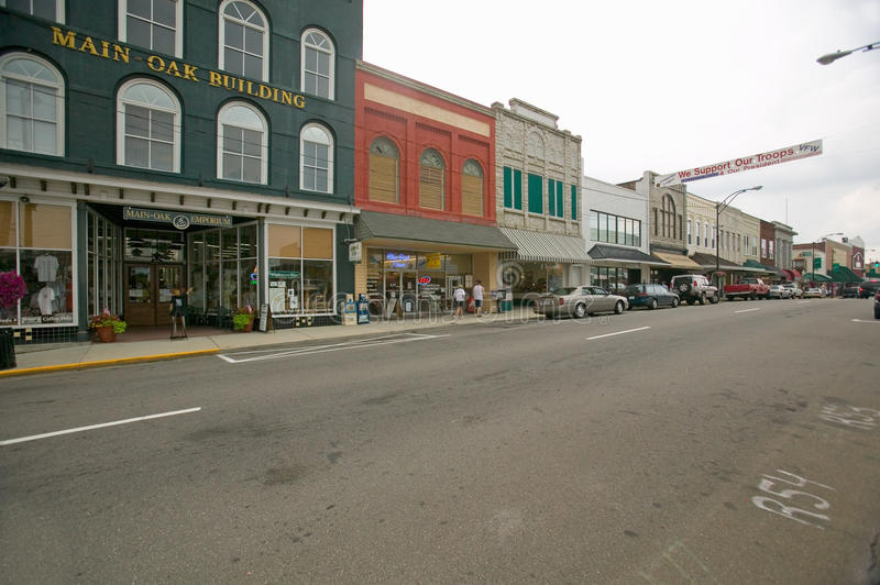 Main street in Mount Airy. North Carolina, the town featured in �Mayberry RFD� and home of Andy Griffith royalty free stock images