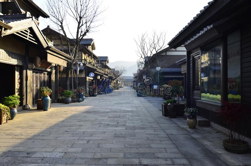 The spring scenery of Nianhua Bay at Wuxi,China. The main street of Nianhua Bay at Wuxi,China royalty free stock photo