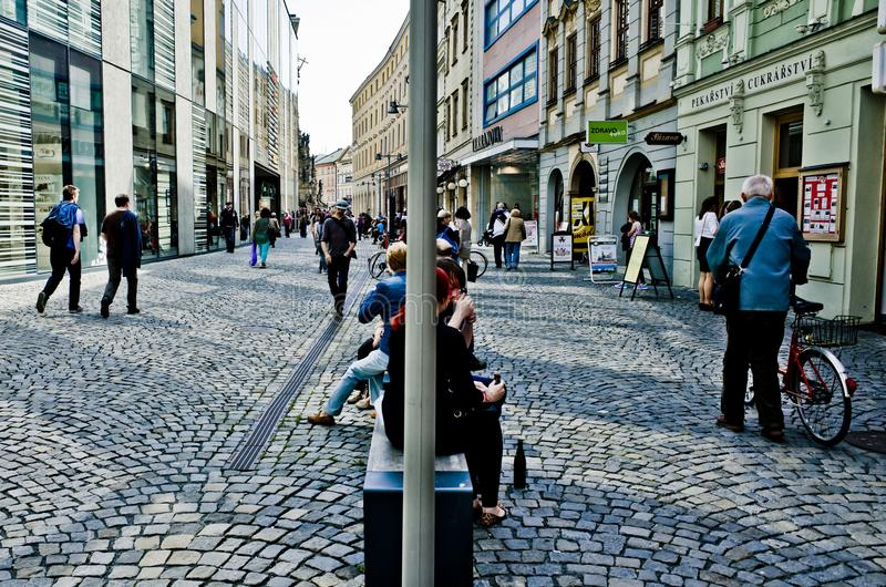 Download Street Of Olomouc Busy With People Editorial Stock Photo - Image of people, summer: 108618008