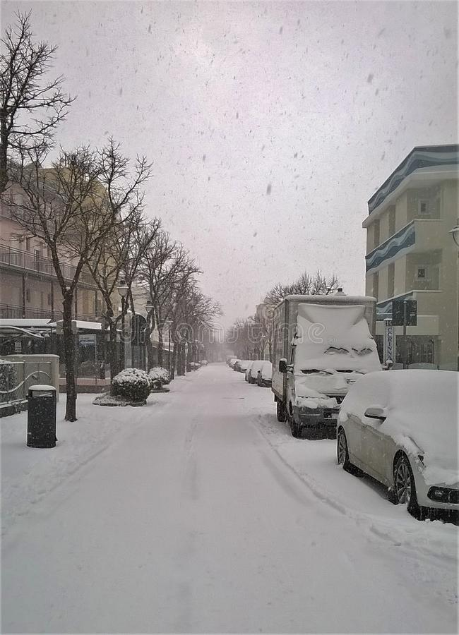 Snow lies the way stock images