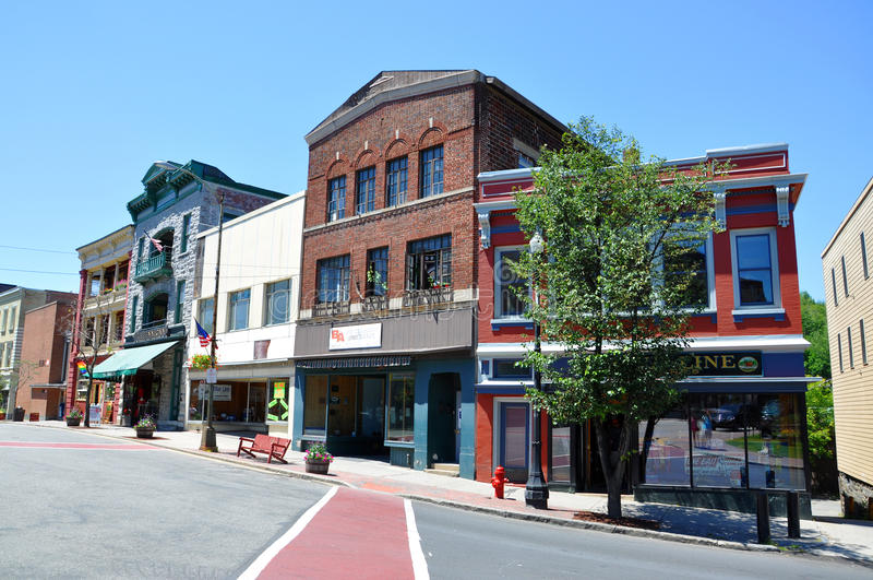 Main Street, Saranac See, New York, USA stockfoto
