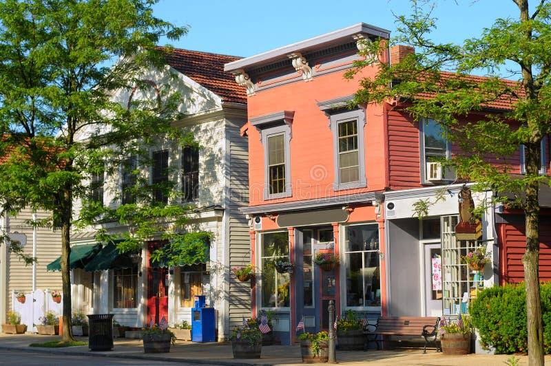 Main Street shops. Quaint shops in bright morning sunlight on historic Main Street of Hudson, Ohio royalty free stock images