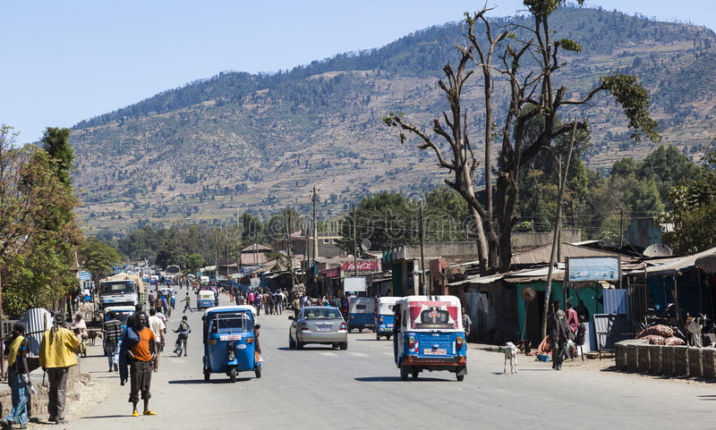 Main street of small provincial town. Hirna. Ethiopia. stock photography