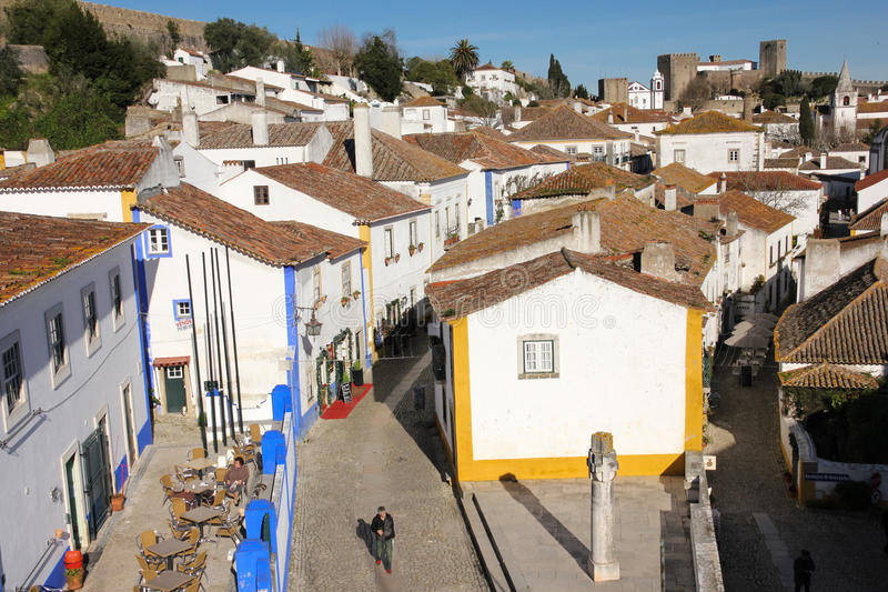 Main street and square. Obidos. Portugal stock photos