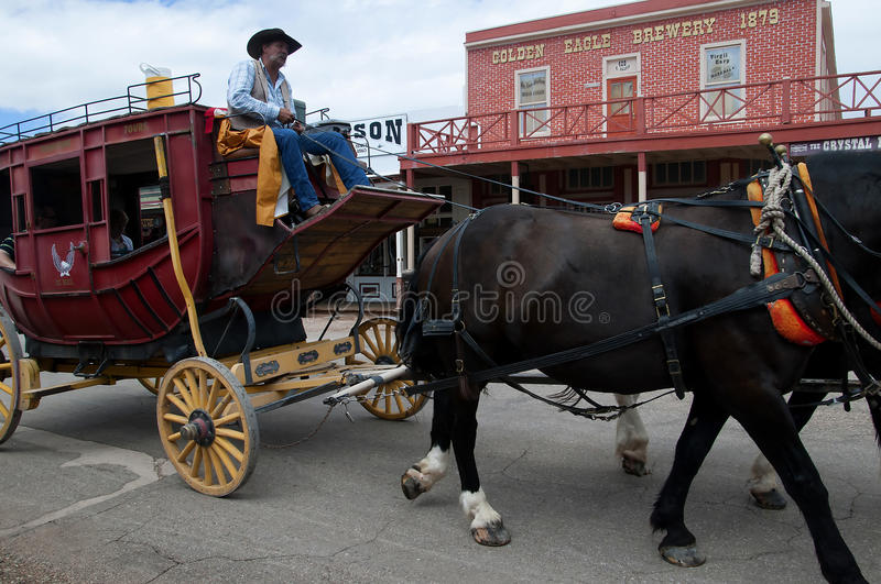 Main Street in Tombstone Arizona. Tombstone in Arizona where the Gunfight at the OK Corral was fought in the USA. It is called the Town too tough to die stock photos