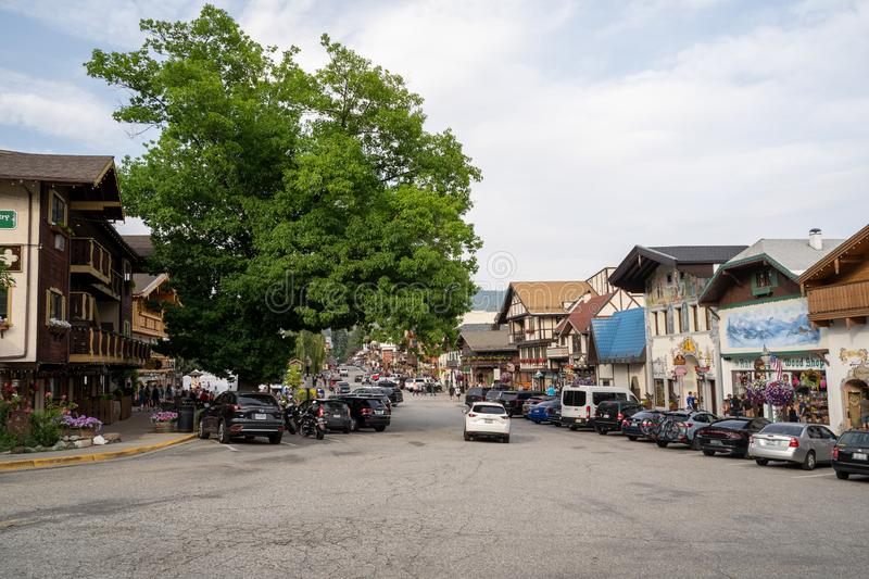 Leavenworth, Washington - July 4, 2019: The main street of the tourist area with shops and restaurants in the German Bavarian stock photo