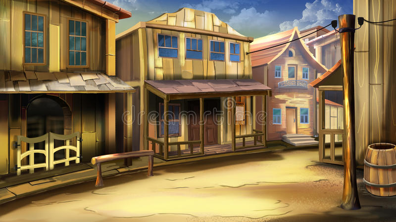 The main street of the town in the wild west stock - Dessin saloon ...