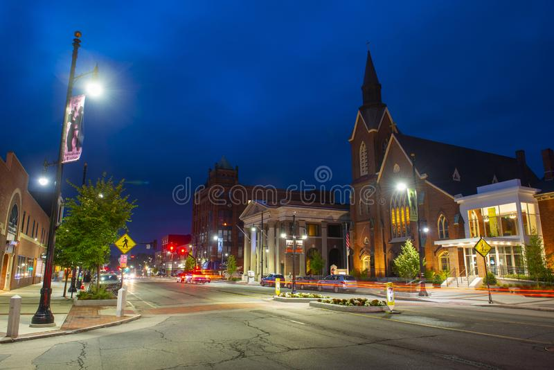 Main Street United Methodist Church, Nashua, NH, USA. Main Street United Methodist Church at night in downtown Nashua, New Hampshire, NH, USA royalty free stock photos